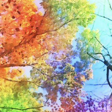 木々 カラフルの iPhone7 壁紙