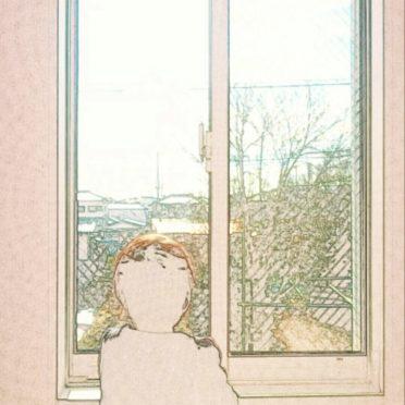 窓辺 子供の iPhone7 壁紙