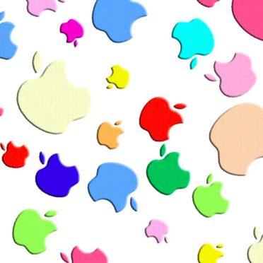 Appleロゴカラフル女子向けの iPhone7 壁紙