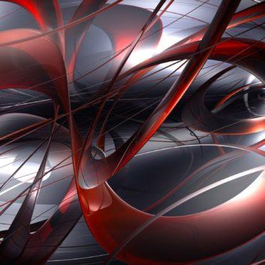 模様イラスト3Dクール赤黒の iPhone7 壁紙