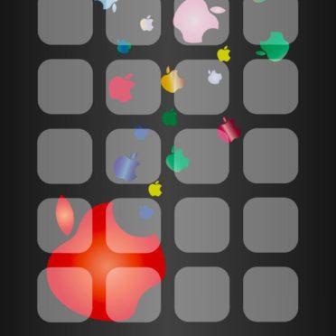 棚Appleロゴ黒の iPhone7 壁紙