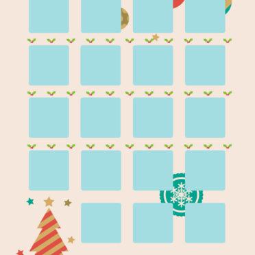 棚クリスマス青桃の iPhone7 壁紙