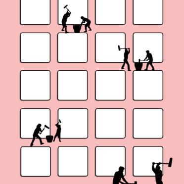 棚正月お餅シンプル桃黒の iPhone7 壁紙