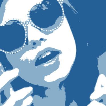キャラクター女性青の iPhone7 壁紙