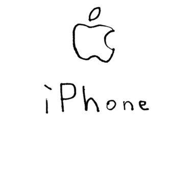 イラストAppleロゴiPhone白の iPhone7 壁紙