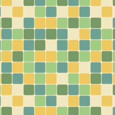 模様四角形青緑黄の iPhone7 壁紙