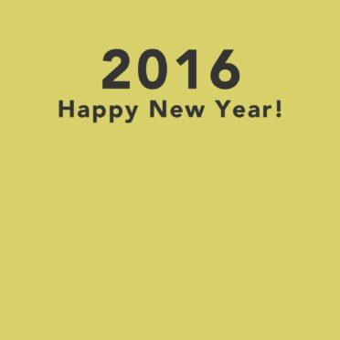 新年壁紙 happy news year 2016 黄色の iPhone7 壁紙