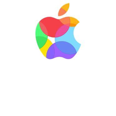 Appleロゴカラフル白の iPhone7 壁紙