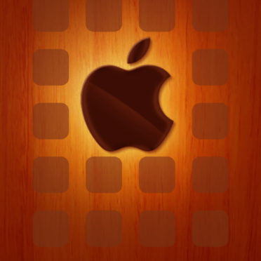 Appleロゴ棚板赤茶色