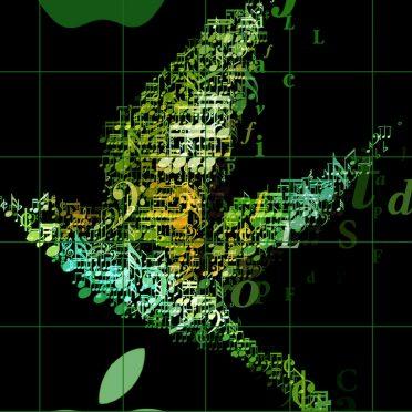 Appleロゴ棚クール緑の iPhone8 壁紙