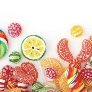 女子向けフードお菓子カラフルキャンディーの iPhone8 壁紙